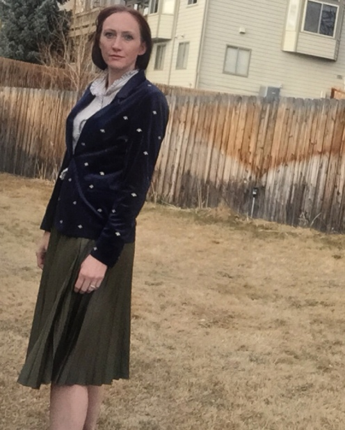 Blazer, Scotch & Soda; silk pinstripe blouse, Banana Republic; skirt, TopShop.